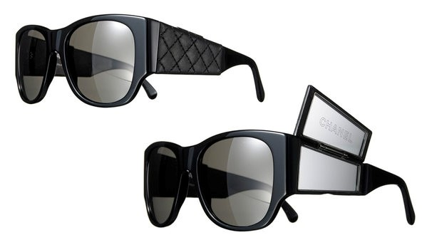 CHANEL SUNGLASSES WITH QUILTED LAMBSKIN FLIP-OUT MIRROR SIDES