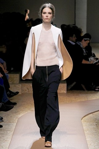 Celine Spring Summer 2011 Cream Crepe Cape Top and Black Crepe Trousers